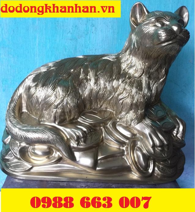 Tượng Mèo bằng đồng vàng cao cấp