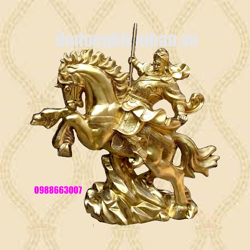 Tượng Quan Công cưỡi ngựa múa đao bằng đồng cát tút